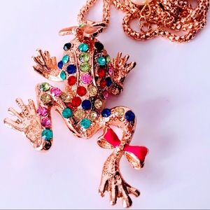 NEW! HAPPY COLORFUL CRYSTAL FROG SWEATER NECKLACE